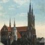 Podkolorowana pocztówka z 1912r pięknie prezentująca kościół stary i nowy p.w. Wniebowzięcia NMP. Ze zbiorów Jana Murawiejskiego.