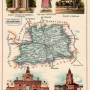 Powiat siedlecki.Chromolitografia - Józef Michał BazewiczAtlas geograficzny ilustrowany Królestwa Polskiego. Warszawa Wydawnictwo J. M. Bazewicza 1907.