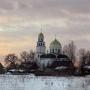 Spojrzenie na cerkiew w panoramie Gródka od strony południowej.