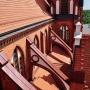 Nietypowym ujęcie z góry, ukazuje ciekawe rozwiązanie konstrukcyjne kościoła- łęki przyporowe,