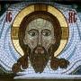 Oblicze Chrystusa. Fragment mozaiki znad bramy cerkiewnej.