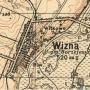 Fragment mapy z roku 1931, na której zaznaczony jest kościół p.w. Jana Chrzciciela oraz kaplica i cmentarz.